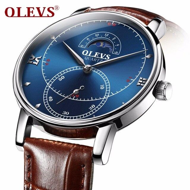 OLEVS Armbanduhr Männer leder Uhr Herren Uhren Top-marke Luxus Quarz Uhr Wasserdichte Männliche Mond Phase Uhr dropshipping NEUE