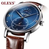 OLEVS Wrist Watch Men leather Watch Mens Watches Top Brand Luxury Quartz Watch Waterproof Male Moon Phase Clock dropshipping NEW