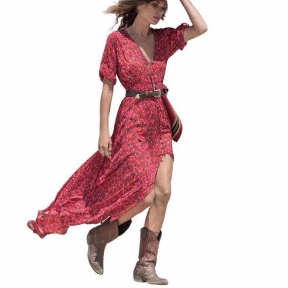 22ddad2e6 ... Hippie rojo vestido Maxi Floral estampado con cuello en V Sexy Boho  gasa mujer Vestidos vestido ...