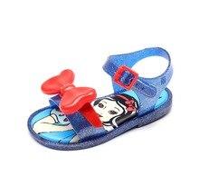 цена на Mini Melissa Three Big Bow Jelly Shoes Bow Flat Sandals Plastic Sandals Girls Sandals Sapato Infantil Menina Grils Shoes