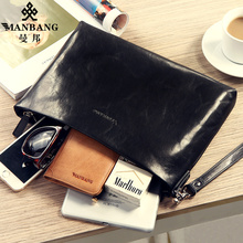 Manbang 2017 New men clutch wallets genuine leather large capacity soft leather vegetable tanned leather purse MBS2830AH