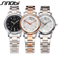 SINOBI Luxury Women Watches Quartz Watch Woman Rose Gold Business Watch Female Ladies Silver Watch Wristwatch