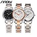 Sinobi mujeres de lujo relojes de cuarzo mujer reloj de oro rosa reloj de señoras reloj de pulsera de plata femenina de negocios