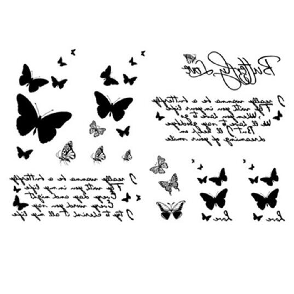 Yeeech Temporary Tattoos Sticker for Women Fake Butterfly Love Designs Sexy Arm Leg Hand Face Small Body Art Makeup Long Lasting
