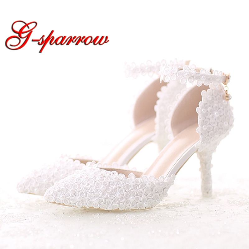 White Lace Flower Bride Dress Shoes Pointed Toe Stiletto Middle Heel Wedding Party Shoes with Ankle Strap Bridesmaid Pumps