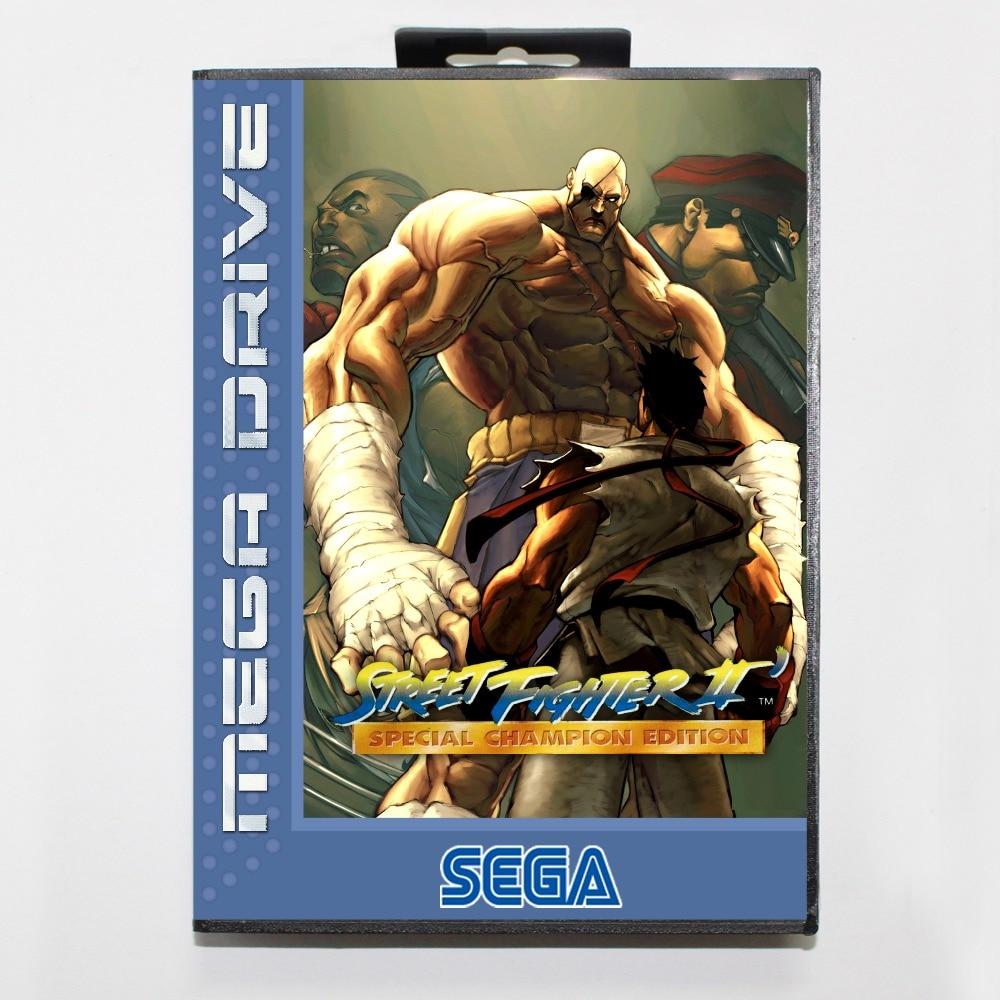Street fighter 2 champed 16 bit SEGA MD Game Card With Retail Box For Sega Mega Drive For Genesis