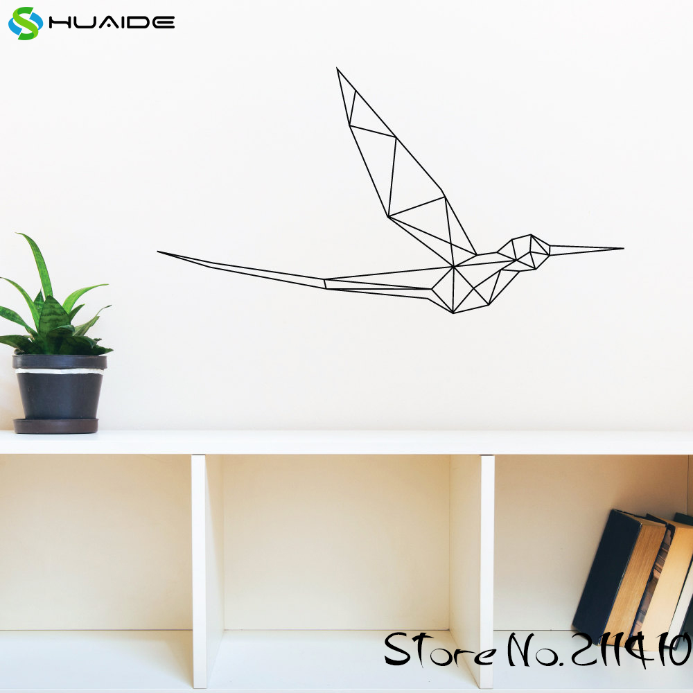 New Design Geometric Hummingbird Wall Decal Sticker Vinyl Removable Wall Stickers For Kids Room Boys Bedroom Wall Art Mural A344