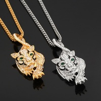 2019 New Goofan Hophop Green Eyed Tiger Pendant Necklace Stainless Steel Fashion Jewelry Boutique For Men Women Gift STN2163