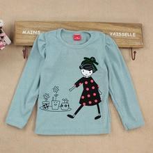 купить Fashion Baby Kid Long Sleeve Girls T-shirt Cartoon Print Shirt Tops Clothes Girls Blouse T-Shirt по цене 236.93 рублей