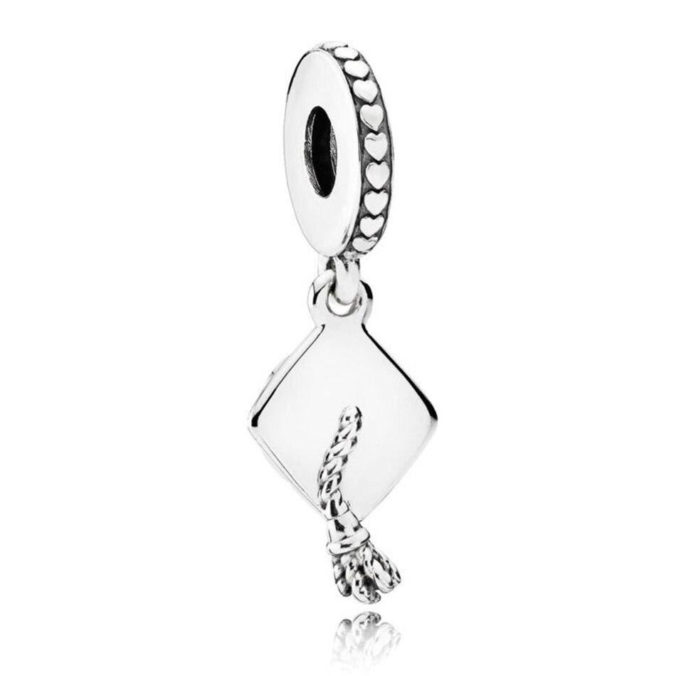 Authentic 925 Sterling Silver Vintage Graduation Pendant Bead Charm Fit Pandora Bracelet Bangle For Women DIY Jewelry Making