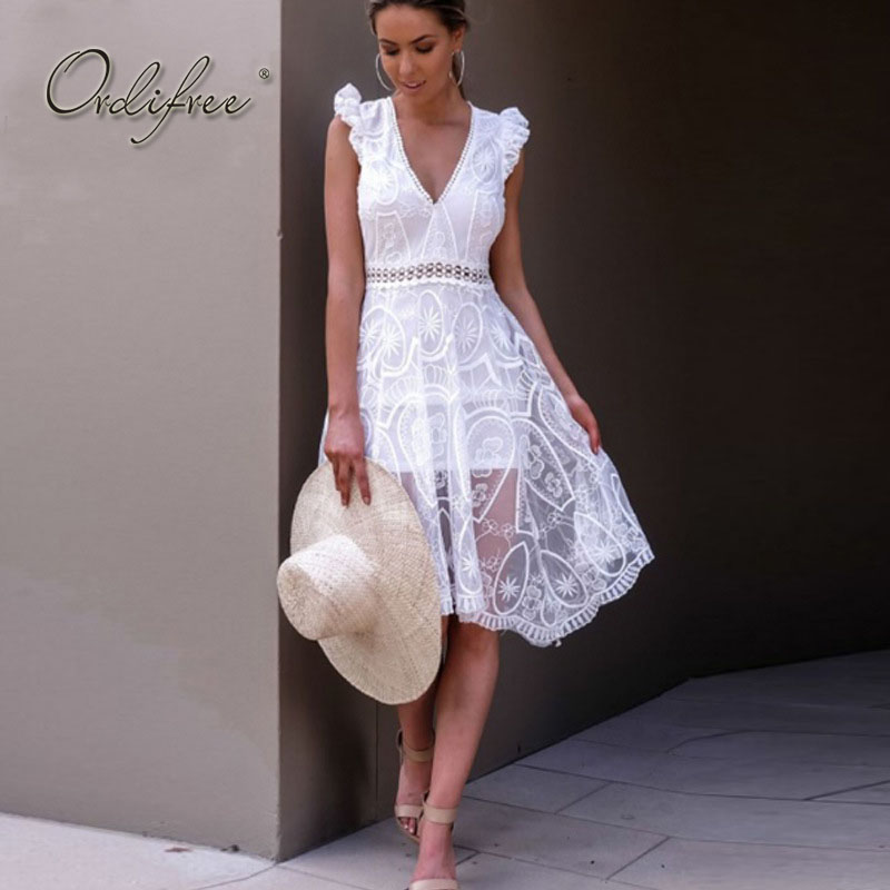 Ordifree 2019 Summer White Lace Dress Sleeveless Backless V Neck See Through Transparent Black Sexy Beach Dress Robe Femme