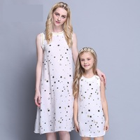 Wholesales Summer Family Look Mom Kids Beach Dress Mother Daughter Match Clothes Infant Children Girl Star