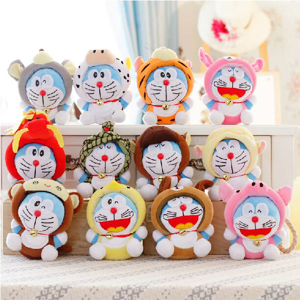 7 12pcs/lot Twelve Zodiac Doraemon Super Quality Cute Plush Doll Stuffed Toy kawaii Gift Wedding Gift Kids Toys zodiac bookmarks zodiac glass napkin 12 piece pack