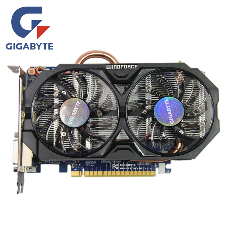 GIGABYTE GTX 750Ti 2GB Video Card 128Bit GDDR5 GV-N75TOC-2GI GTX 750 Graphics Cards for nVIDIA Geforce GTX750 Ti Hdmi Dvi Cards computador cooling fan replacement for msi twin frozr ii r7770 hd 7770 n460 n560 gtx graphics video card fans pld08010s12hh