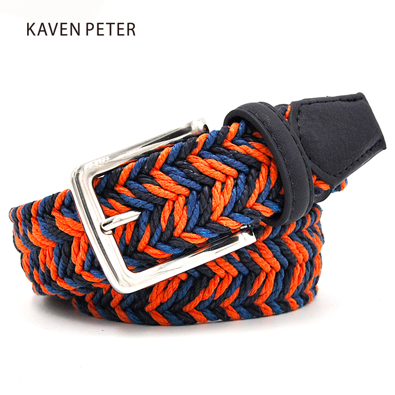Men Cummerbunds Cotton Canvas Web Metal Buckle Belt Orange Navy And Blue Wax Rope Mixed Male Belts Canvas 150 CM