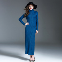 New Arrive Autumn And Winter Pure Color Slim Wool Sweater Dress High Grade Knitting Long Dress