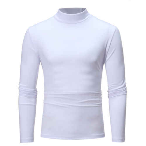 Masculino casual turtle neck manga longa algodão topo t camisa homem camiseta pano