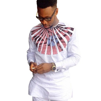 African fashion shirts men ankara print long sleeve dashiki shirts white cotton and wax patchwork o-neck top of africa clothing 1