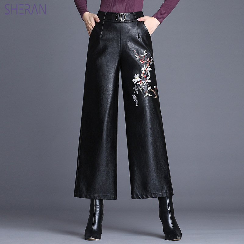 2018 Autumn Winter Embroidered PU Leather   Pants   Women High Waist   Wide     Leg     Pants   Fashion Slim Black Trousers Women Faux Leather