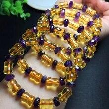 Genuine Natural Citrine Yellow Gemstone Amethyst Barrel Abacus Round Beads Women Bracelet 10x8mm Wealthy Stone Best AAAAA