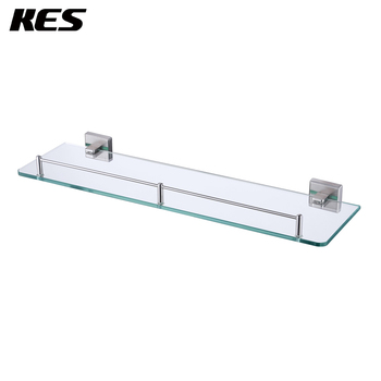 KES A2420A-2 Bathroom Lavatory Glass Shelf Wall Mount, Brushed SUS304 Stainless Steel