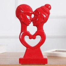 цена на Red ceramic lovers home decor crafts room decoration ceramic handicraft ornament porcelain figurines wedding decorations