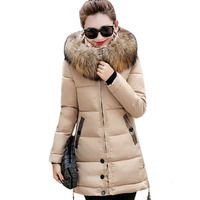 2017 Winter Fashion Women Casual Pure Color Faux Fur Hooded Parkas Thick Long Sleeve Buttons Decor