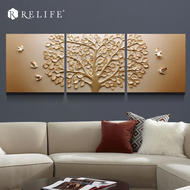 3 Panel Combined Tree Carved Modern Decorative Triptych Paintings Room Wall Pictures for Bedroom