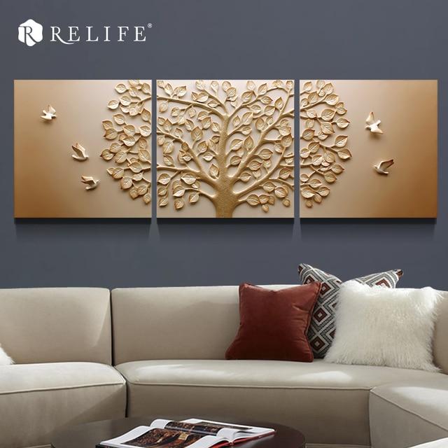 3 panel combinado rbol tallado decorativo moderno