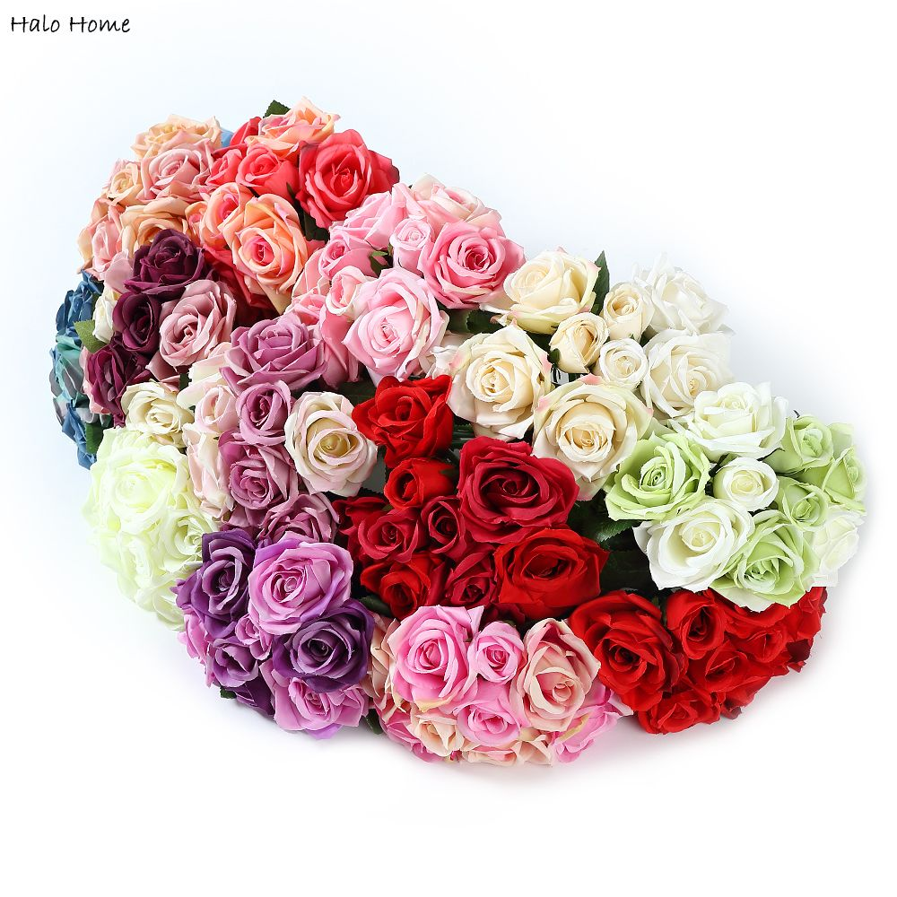 1 Bunch Silk Artificial Flower White Rose For Public Places Wedding