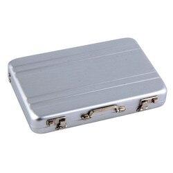 1 pc Mini Aktentasche Visitenkarte Fall Identifikation-halter Passwort Silber Aluminium Kredit Fall Box Großhandel