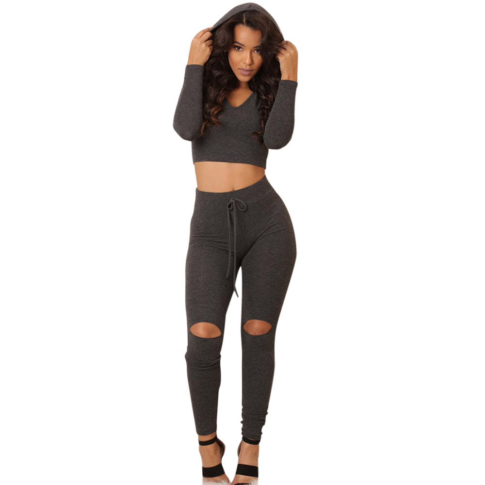Free Shipping Fashion Women Casual Clothes Set Tops And Leggings