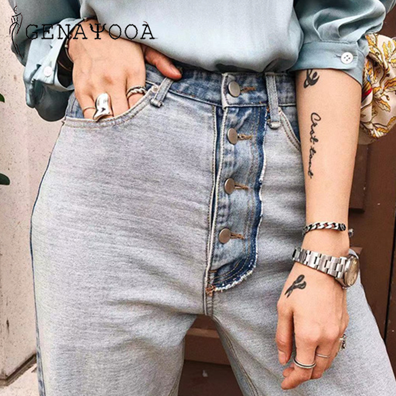 Genayooa Jeans Woman High Waist Boyfriend Jeans For Women Patchwork Streetwear Straight Loose Pants For Women Trousers 2019