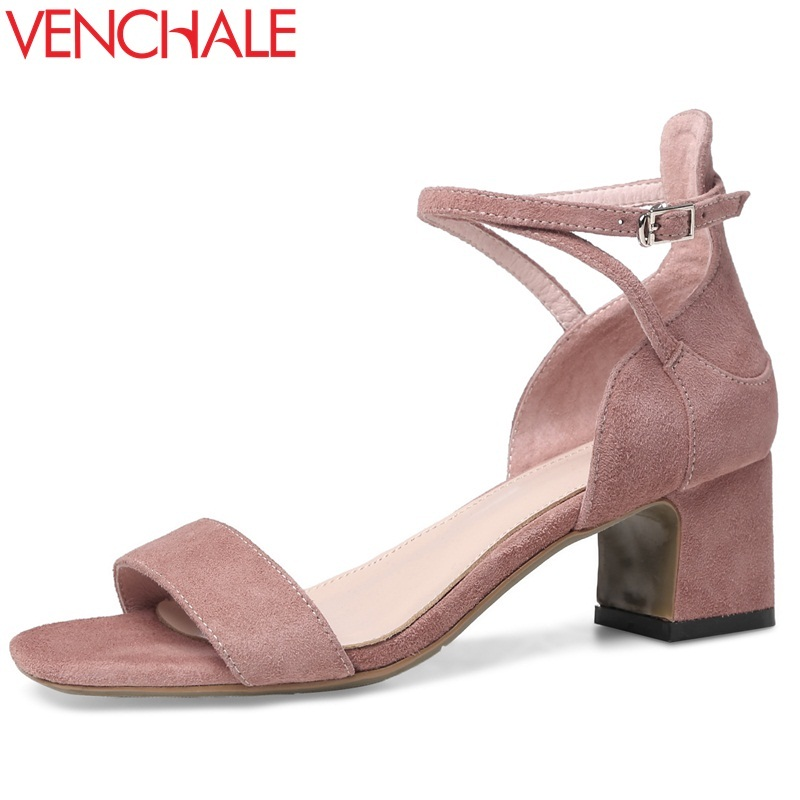 VENCHALE summer 2018 new fashion square cover heel heel height 5.5 square toe cross-strap concise casual outdoor women sandals venchale 2018 summer new fashion sandals wedges platform women shoes height heel 10 cm buckle strap casual cow leather sandals