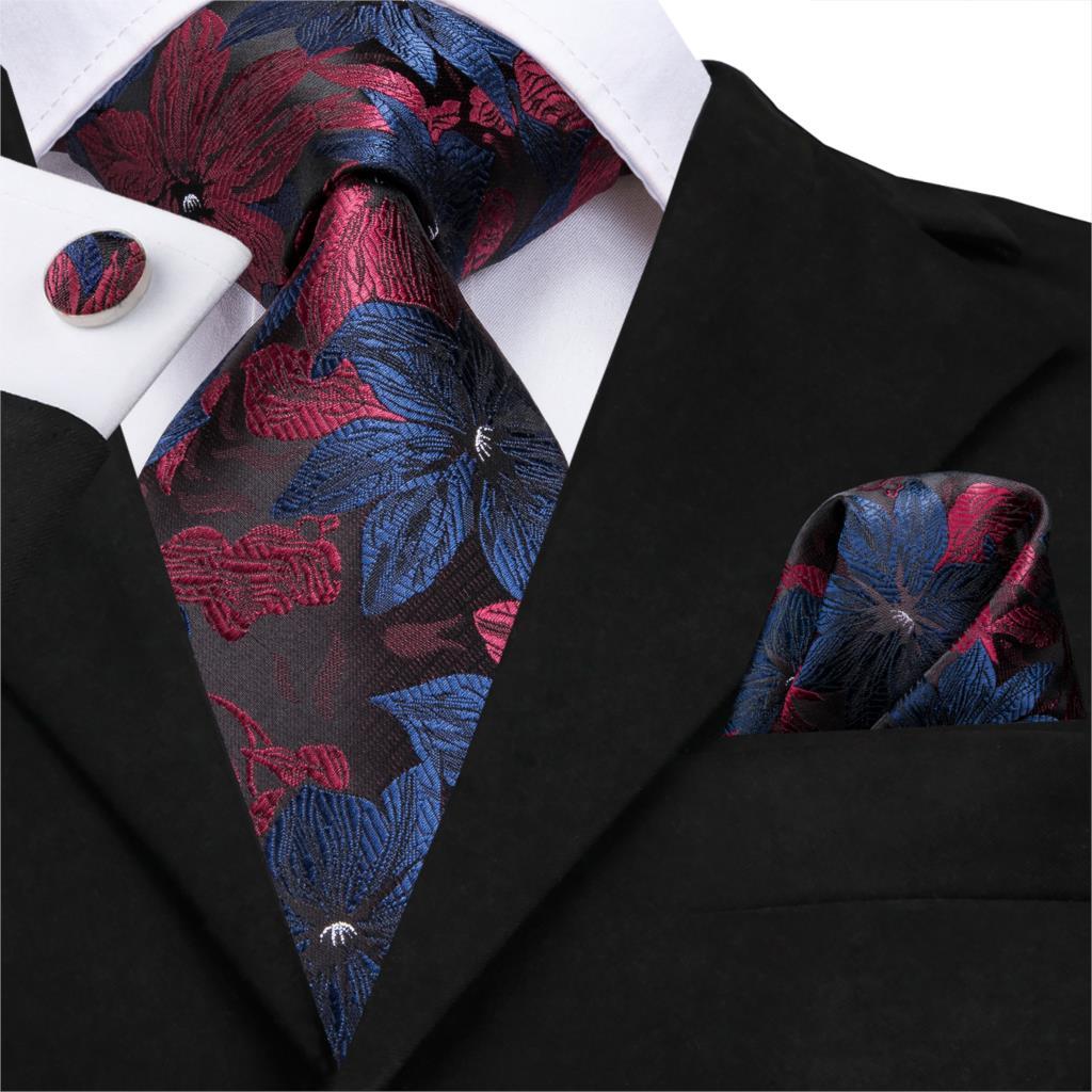 C-3125 Hi-Tie Silk Men Tie Floral Red Black Necktie Handkerchief Cufflinks Set Fashion Men's Classic Party Wedding Tie Set 8.5cm