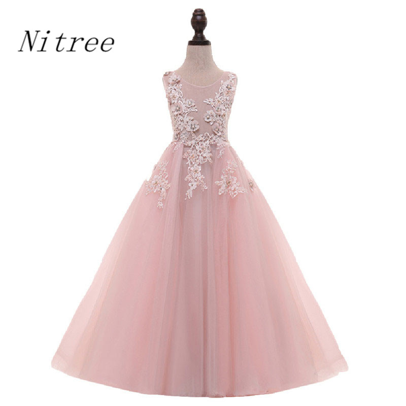 2017 New   Flower     Girl     Dresses   For Wedding A Line Custom Made Pink Tulle Pretty   Girls   first Communion Pageant Gowns with Pearls