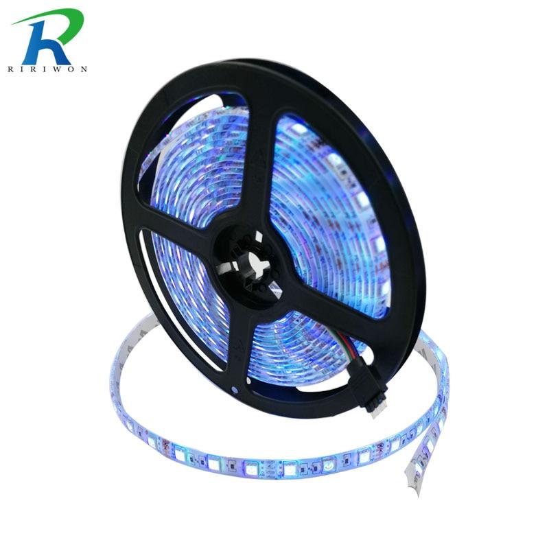 RiRi won smd RGB led strip light 5m DC 12V 5050 60leds led 220V light tape diode ribbon waterproof strip no power no controller