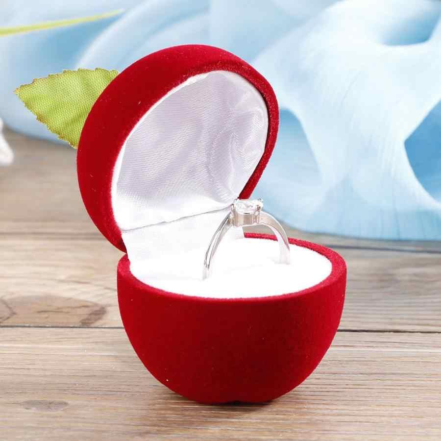 แฟชั่นโรแมนติกงานแต่งงานแหวนกล่องต่างหูข้อเสนอ Apple รูปร่างเครื่องประดับสีแดงผู้ถือกล่องเก็บของขวัญกล่อง
