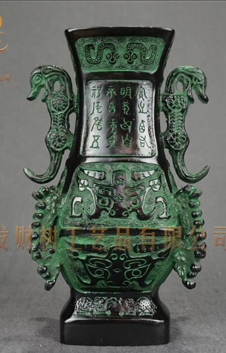 Popolare cinese scultura bronzi, Shuanglong Zun, Ornamento 19 cm alta famiglia ornamentiPopolare cinese scultura bronzi, Shuanglong Zun, Ornamento 19 cm alta famiglia ornamenti