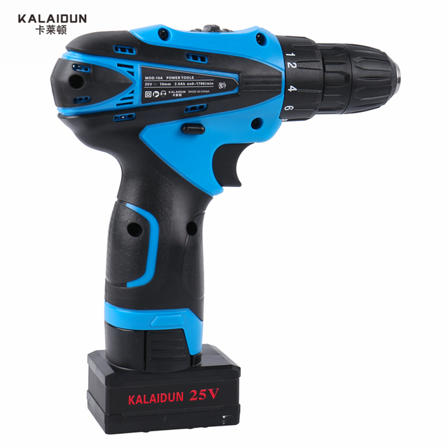 KALAIDUN 25V Electric Drill Mobile Power Tools Electric Screwdriver Lithium Battery Cordless Impact Drill With Extra Toolbox 2