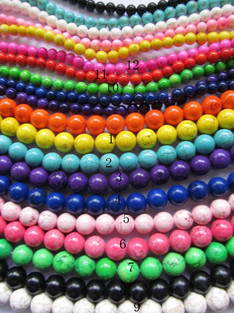 2 3 4 6 8 10 12 14 16mm 5strands high quality turquoise beads round ball green pink hot red blue oranger black mixed jewelry bea