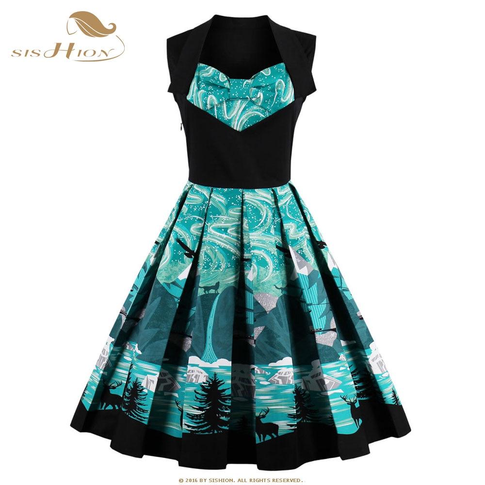 sishion 2017 new plus size women clothing 50s 60s retro vintage dress floral print hepburn. Black Bedroom Furniture Sets. Home Design Ideas