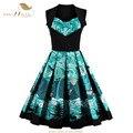 Sishion 2017 new plus size roupas femininas 50 s 60 s retro vintage dress impressão floral patchwork hepburn balanço verão vestidos vd0440