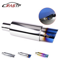RASTP Neo Chrome Hi Power Universal 304 Stainless Steel Gold Exhaust Pipe Racing Muffler Tip Car Exhaust Pipe CR1002