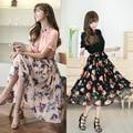 Moda Vestidos de Las Mujeres 2016 La Gasa Del Verano de Manga Corta con Estampado floral Ocasional Delgado Mujer Larga Vestidos de Princesa Ropa de Vestir