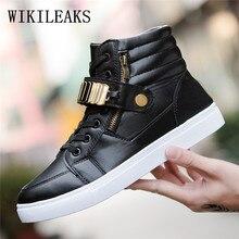 Hombres zapatos casual metal lentejuelas de alta superior zapatos de baile  de calle hip hop cuero 40a76248b46
