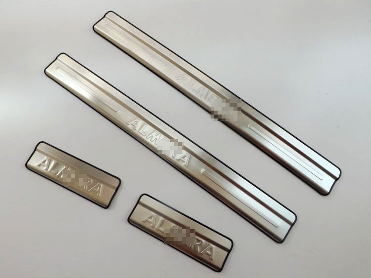 For Nissan Almera stainless steel door sill scuff plates Almera door sill strip 2012 New Almera welcome pedal 4pcsset (5)
