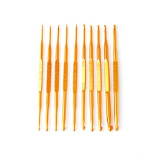 10Pcs Golden Aluminum Double End Crochet Hook Knitting Needle Set Weave Craft -Y102