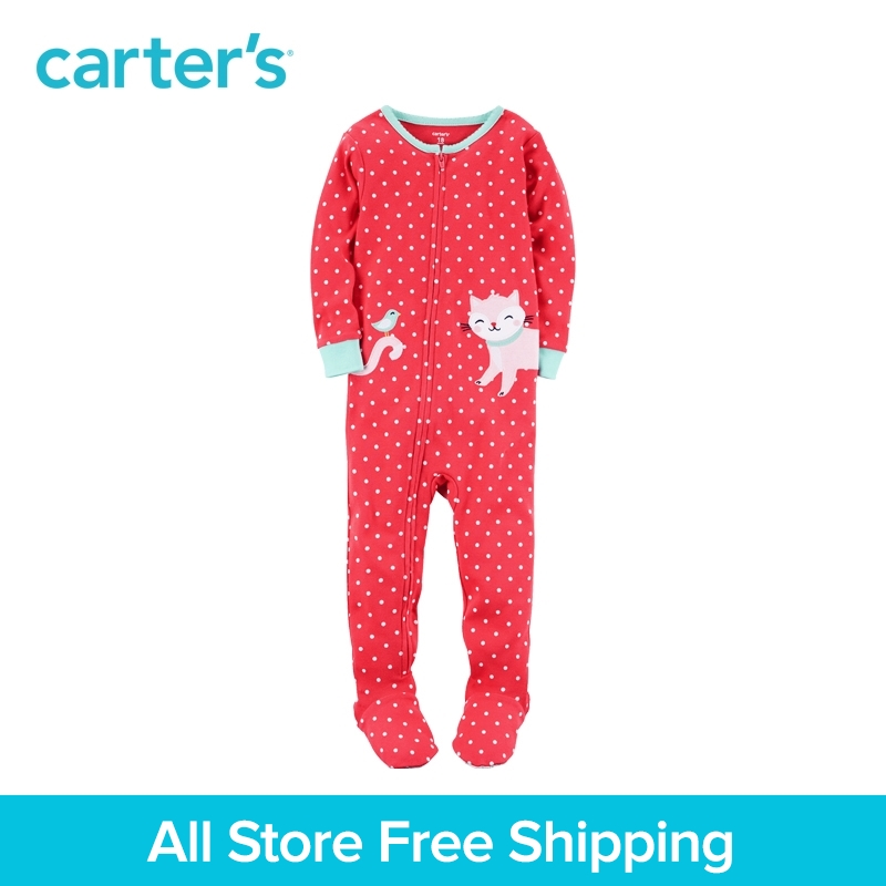 Carters 1pcs baby children kid clothing girl spring&summer toddler 1-Piece Snug Fit Cotton PJs dot print Cat 351G331