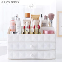 JULY'S SONG Plastic Makeup Drawer Storage Cosmetic Organizer Box Container Jewelry Storage Box Casket Holder Desktop Sundry Case